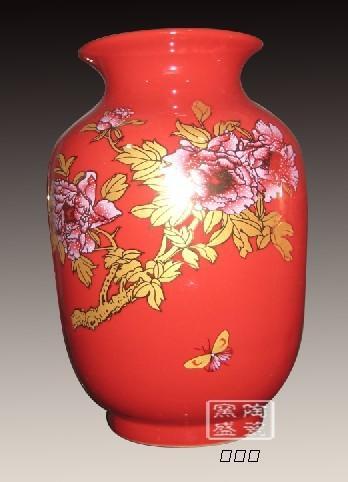 陶瓷花瓶,喜庆陶瓷装饰品,红釉陶瓷 青花葫芦瓶