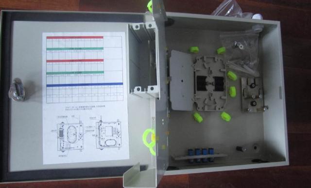 冷扎板16芯插片式光缆分纤箱-室内光纤楼道箱