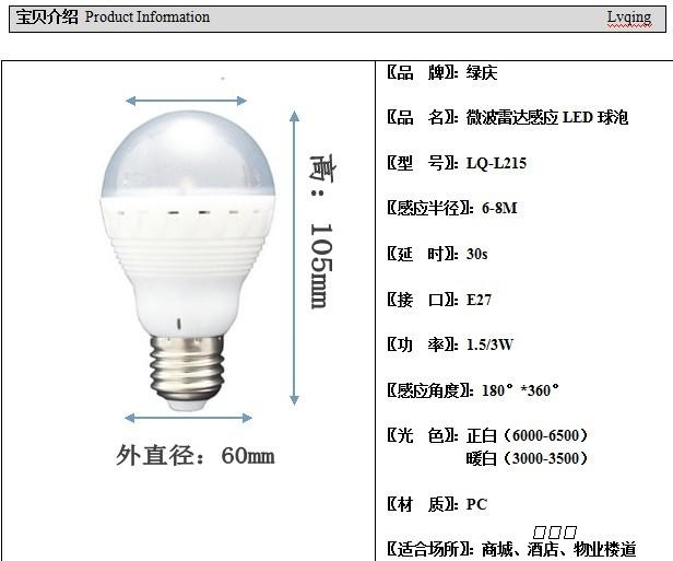 重庆绿庆led微波雷达感应灯楼道灯人体感应灯