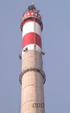 电厂烟囱刷航标色环,钢结构防腐