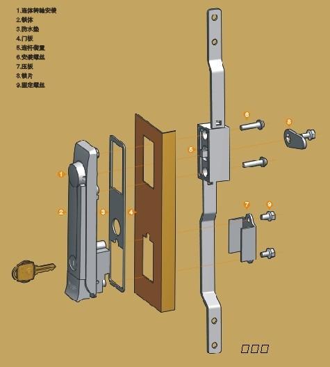 箱门锁连杆锁ms821电柜门锁